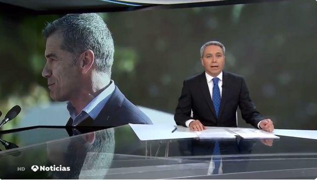 Vicente Vallés este miércoles en el plató de 'Antena 3