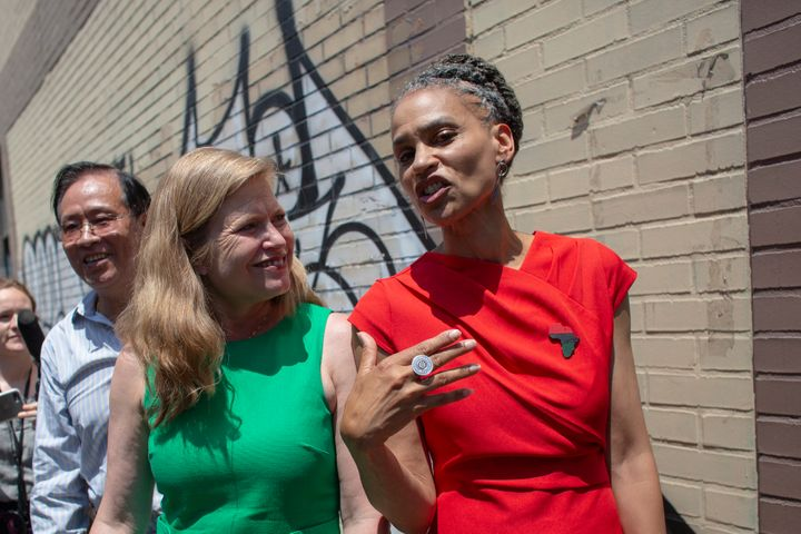 NYC mayoral candidates Kathryn Garcia and Maya Wiley speak at the unveiling of a mural in Chinatown on June 20. Preliminary r