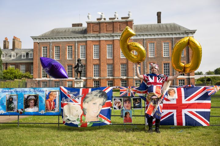 A Royal fan at Kensington Palace to mark what would have been Diana's 60th birthday