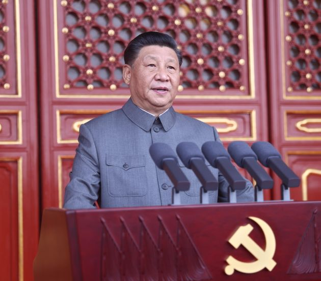 epa09314721 A handout photo made available by Xinhua News Agency shows Chinese President Xi Jinping delivering...