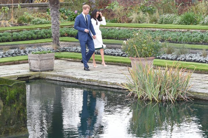 Harry and Meghan in the Sunken Garden for their engagement photocall in 2017.