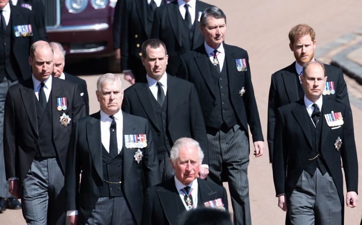 William and Harry along with other family members during the funeral of Prince Philip, Duke of Edinburgh in April 2021.