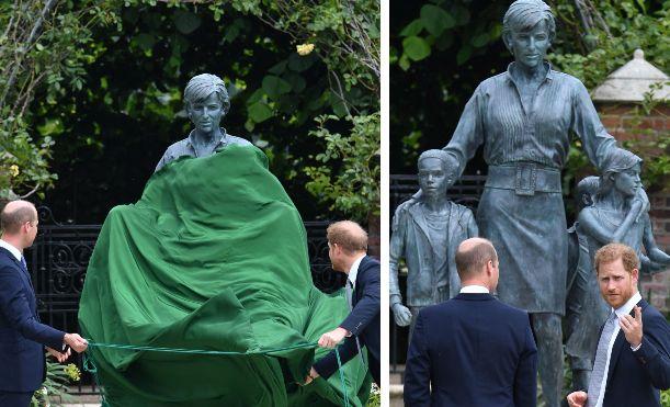Il principe William e il principe Harry all'inaugurazione della statua di Lady