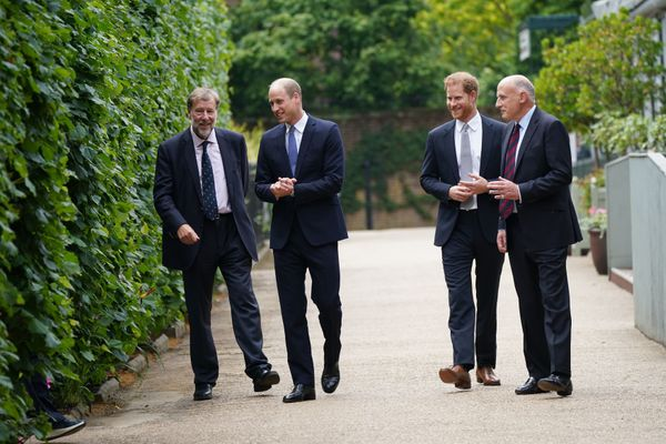 The princes speak with Rupert Gavin, chair of Historic Royal Palaces (left), and Jamie Lowther-Pinkerton (right), the former
