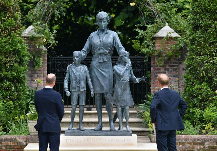 Prince William and Prince Harry after they unveiled a statue they commissioned of their mother Diana, Princess of Wales, in the Sunken Garden at Kensington Palace, on what would have been her 60th birthday on July 1.