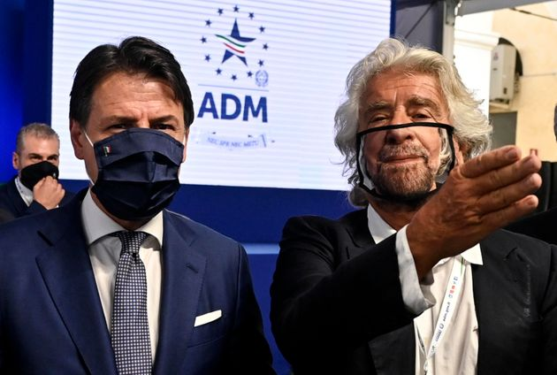 Prime minister Giuseppe Conte (L) with Beppe Grillo (R) during the presentation of the 2019 Blue Book...