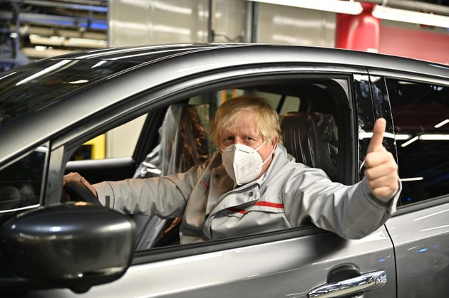 Prime Minister Boris Johnson during his visit to Nissan plant in