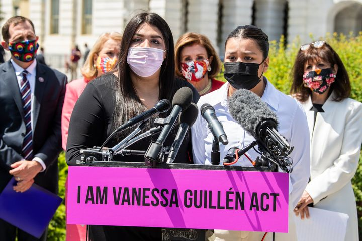 The sisters of Vanessa Guillen speak during a May 13 news conference outside the U.S. Capitol to reintroduce the I Am Vanessa