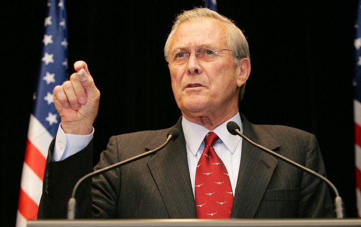 Then-Secretary of Defense Donald Rumsfeld during a press conference in Australia in November 2005.