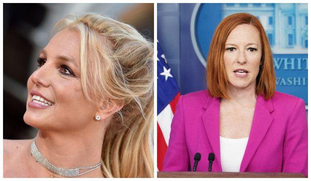 A gauche : la chanteuse Britney Spears en à Hollywood en 2019. A droite: La porte-parole de la Maison...