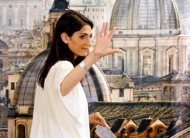 Rome's newly elected mayor Virginia Raggi, of 5-Star Movement, gestures during a news conference in Rome,...