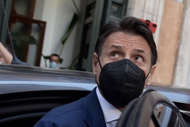 ROME, ITALY - JUNE 28: Former Prime Minister Giuseppe Conte leaves the press conference at the Tempio...