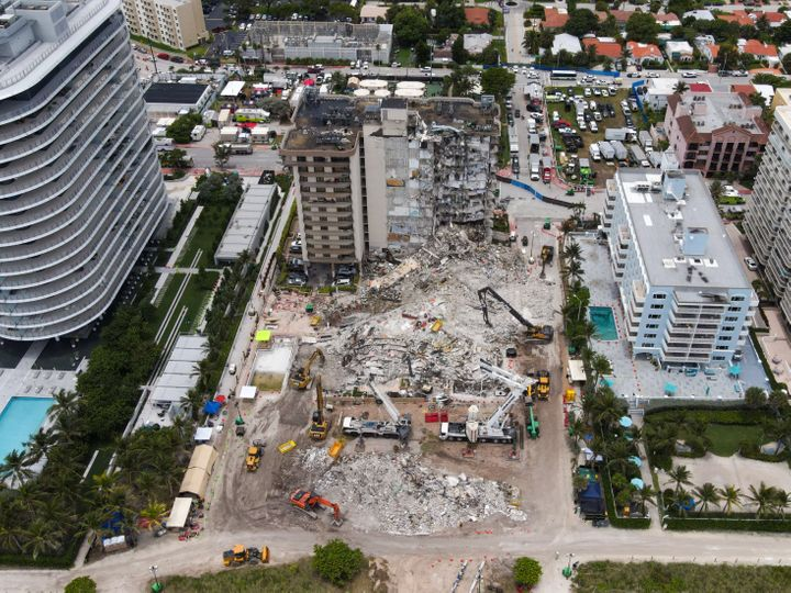 An aerial view shows the ongoing rescue operation of the Champlain Tower in Surfside, Florida, United States, on July 1, 2021