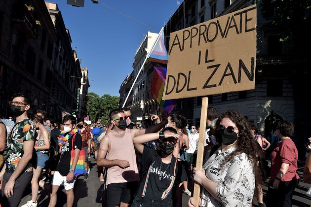 ROME, ITALY - JUNE 26: People with placards in favour of the Zan law against homophobia take part in...