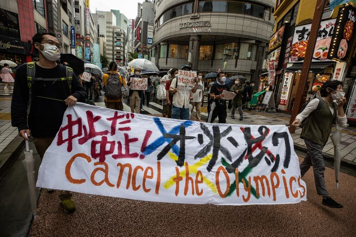 Protesters calling for the cancellation of the Tokyo Olympics marched through the city in mid-June. Japanese doctors have war