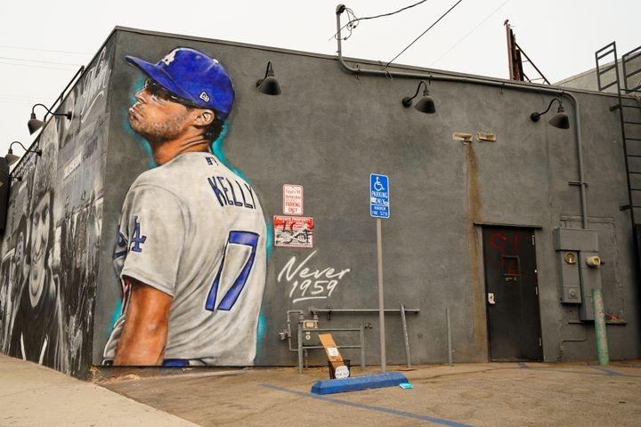 A mural of Los Angeles Dodgers pitcher Joe Kelly pouting and mocking the Astros.