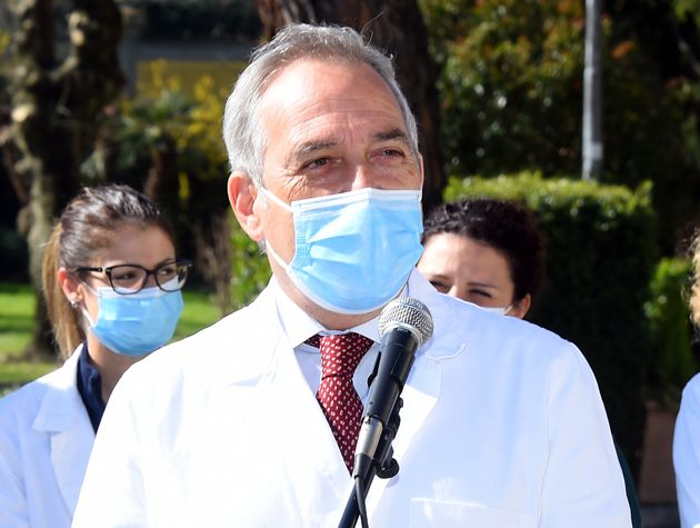Spallanzani director Francesco Vaia.FIGC president Gabriele Gravina visits the Lazzaro Spallanzani Hospital...