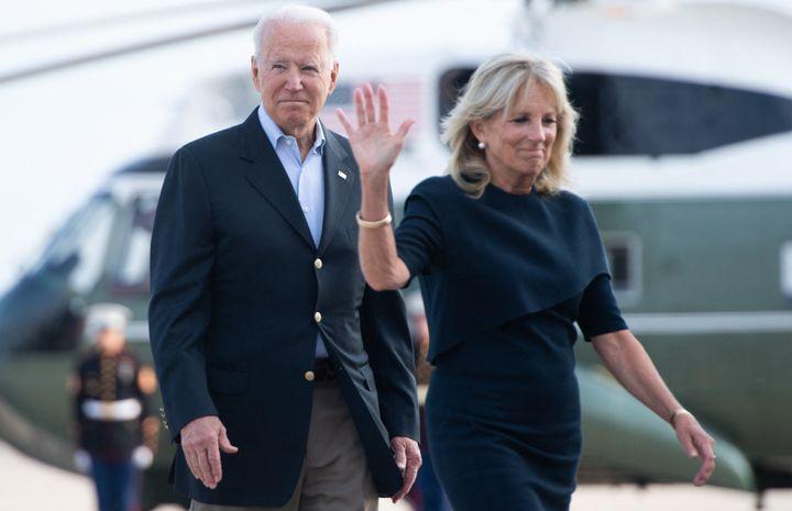 President Joe Biden and First Lady Jill Biden walk to board Air Force One on July 1.