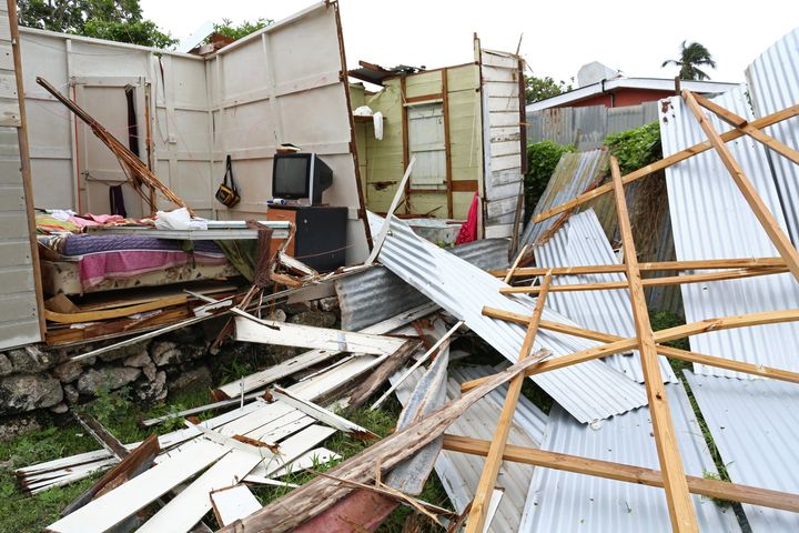 Debris is what's left of a house after it lost its roof and walls in the strong winds of Elsa when it roared through St. Michael, Barbados.