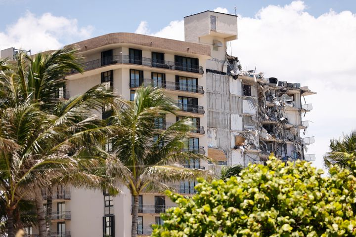 SURFSIDE, FLORIDA - JULY 03: A general view of the partially collapsed 12-story Champlain Towers South condo building on July