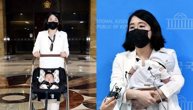 용혜인 기본소득당 의원이 생후 59일된 아들과 함께 국회로