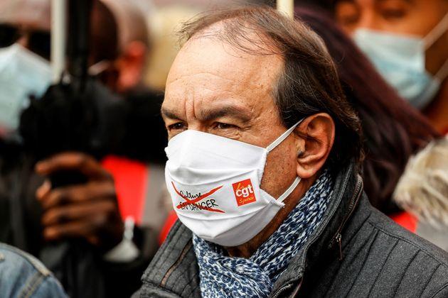 Le secrétaire général de la CGT Philippe Martinez lors d'une action à Paris en soutien au secteur de...