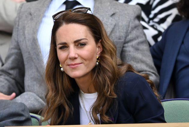 LONDON, ENGLAND - JULY 02: Catherine, Duchess of Cambridge attends the Wimbledon Tennis Championships...
