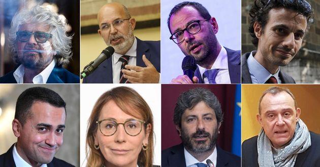 (alto da S) Beppe Grillo, Vito Crimi, Stefano Patuanelli, Davide Crippa, (basso da S) Luigi Di Maio,...