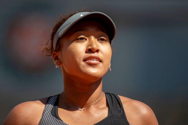 Naomi Osaka sur le court Philippe-Chatrier lors de son premier tour à Roland-Garros le 30 mai...