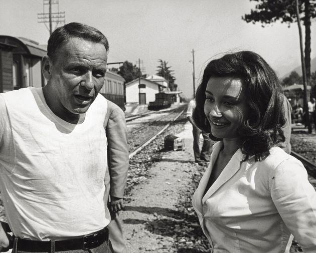 Junto a Frank Sinatra en el set de
