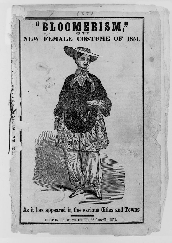 """An illustration from 1851 that shows a woman wearing """"bloomers"""" — named after Amelia Jenks Bloomer, a women's rights proponent who did not invent the costume but advocated for it as a more comfortable and practical style of clothing for women."""