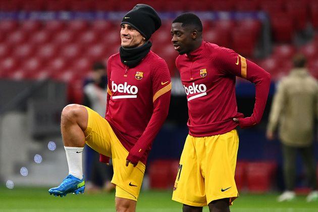 サッカー・フランス代表のデンベレ選手(写真右)とグリーズマン選手(写真左)