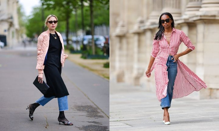 The dress-over-jeans look is reappearing in 2021 street style.