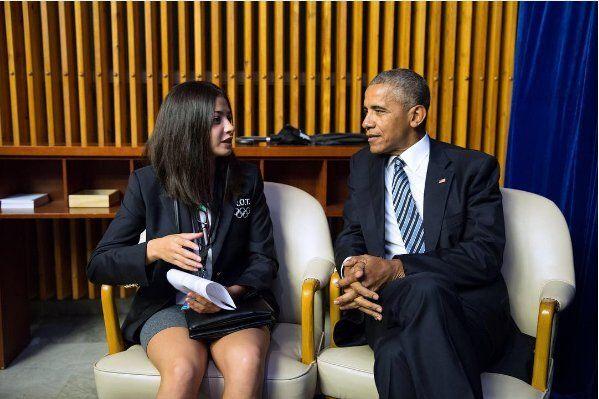 2016年9月、ニューヨークの国連総会で演説後にオバマ米大統領(当時)と面会