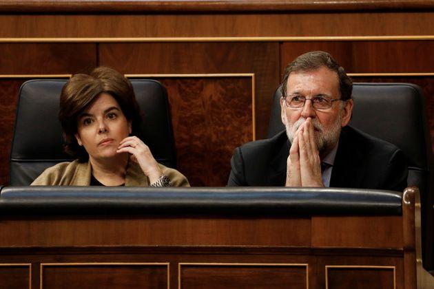 Mariano Rajoy y Soraya Sáenz de Santamaría, en el Congreso, en