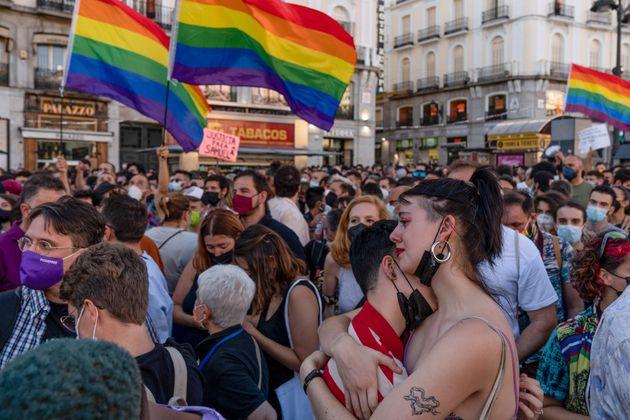 Imagen de la protesta en la Puerta del Sol (Madrid) por el asesinato de Samuel Luiz, el 5 de julio de