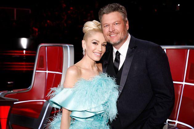 Gwen Stefani et son mari Blake Shelton lors du tournage de la saison 17 de