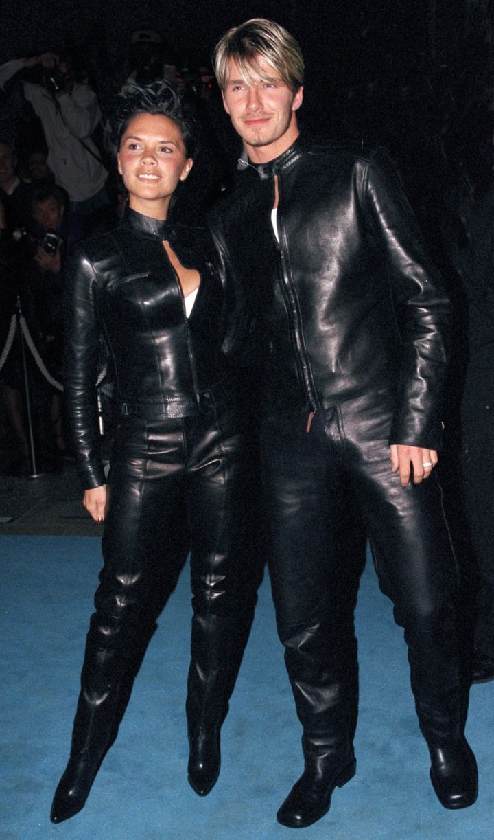 """David and Victoria Beckham attend the """"Versace Club"""" gala party in London on June 11, 1999."""