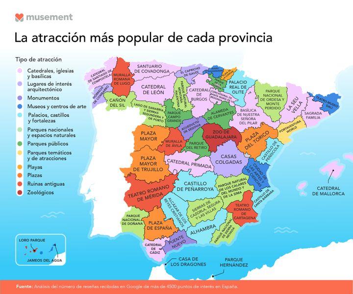 Mapa de las atracciones más populares de cada provincia.
