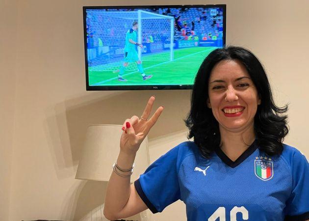 L'ex ministro ed esponente 5s Lucia Azzolina dopo la vittoria dell'Italia sul Belgio nei quarti di finale...