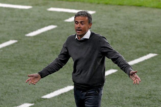 Luis Enrique, durante el partido ante