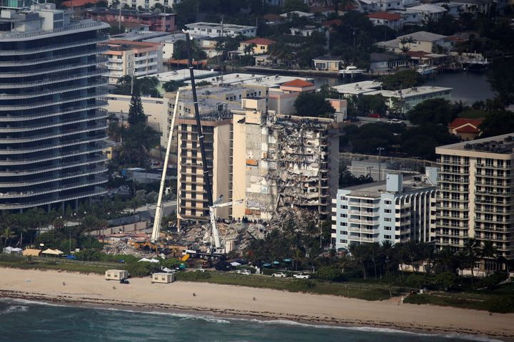 An aerial view shows the partially collapsed residential building in Surfside.No one has been rescued from the site sin