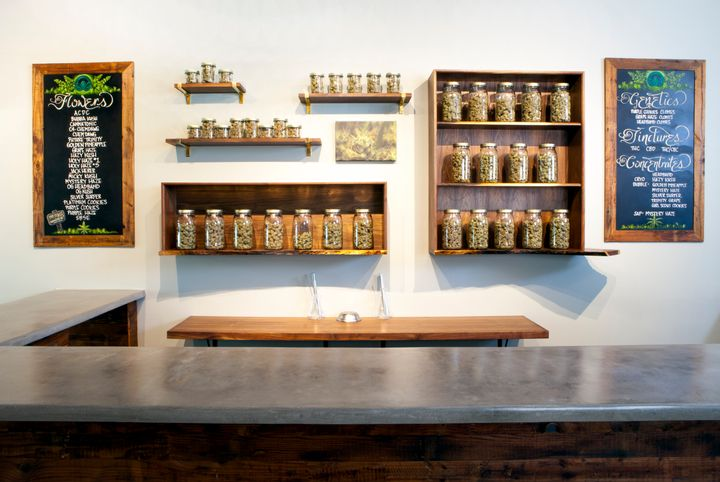 A counter area of a marijuana dispensary in Portland, Oregon, where weed is now legal.