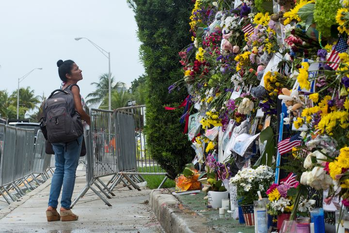 A makeshift memorial is seen near the site of the collapsed residential building in Miami-Dade County, Florida, on Tuesday.&n