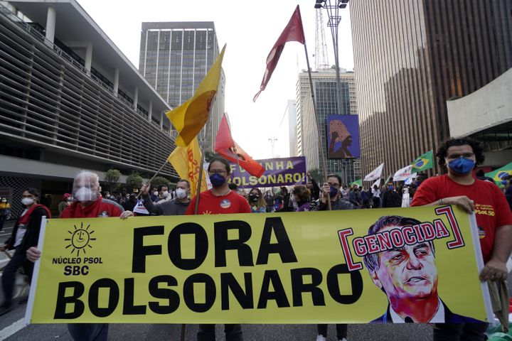 Thousands of Brazilians took to the streets Saturday to protest against President Jair Bolsonaro, who faces an investigation