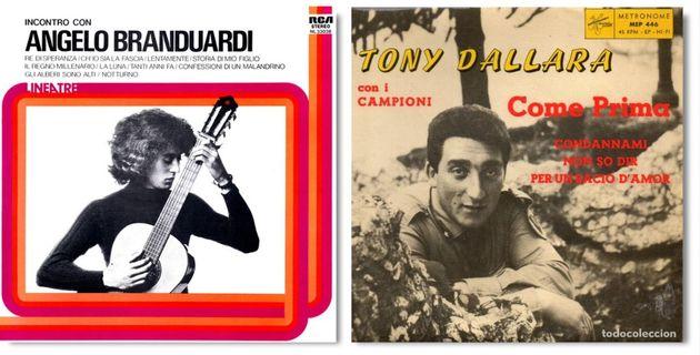 Le copertine dell'album di Angelo Branduardi e di Come prima di Tony