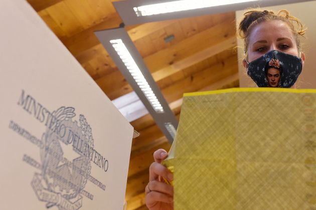 TRENTO, ITALY - SEPTEMBER 22: The ballot papers of the municipal elections are counted on September 22,...