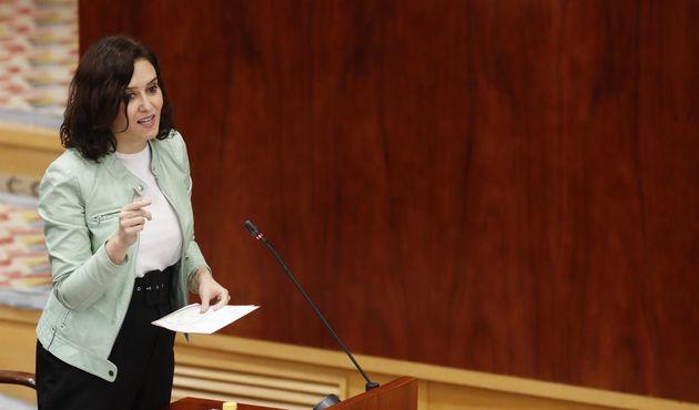 La presidenta de la Comunidad de Madrid, Isabel Díaz Ayuso, este jueves, en la Asamblea de