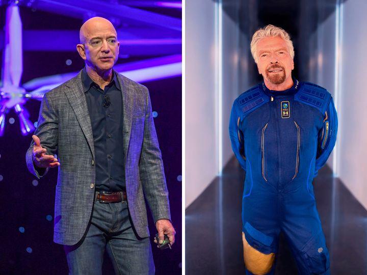 Los empresarios Jeff Bezos y Richard Branson, competidores en la carrera espacial.