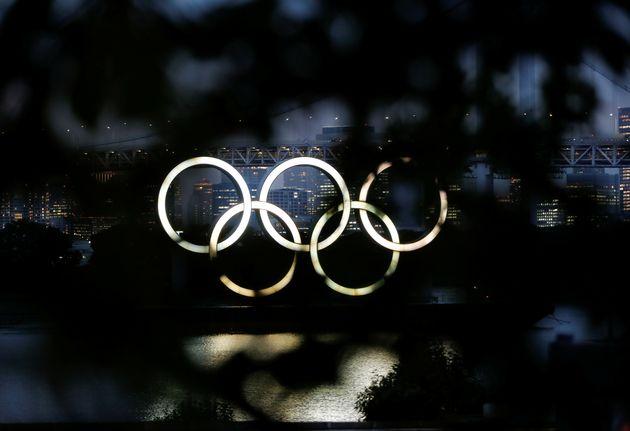 Les anneaux des Jeux Olympiques à Tokyo, le 8 juillet
